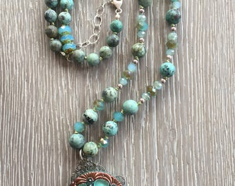 African Turquoise and Amazonite Hand Knotted Beaded Necklace, Picasso Czech Beads,  Beaded Necklace, Vintage Inspired Button Pendant