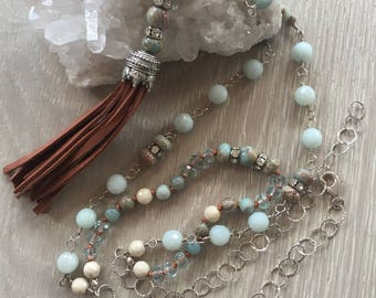 African Opal and Amazonite Tassel Necklace, Wire Wrapped, Hand Knotted, Sterling Silver, Layered Necklace