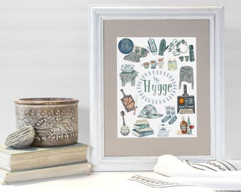 Hygge, Hygge illustration, Hygge Print, Hygge Art, Hygge Watercolor