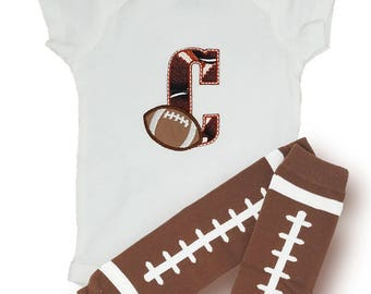 Personalized baby shower gifts / baby football leg warmers / football bodysuit / custom baby gifts / New baby gifts / newborn baby outfit