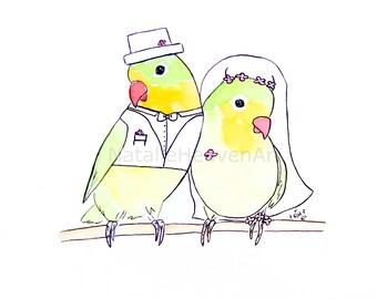 Bird Wedding Gifts for Bride and Groom Art, Bridal Picture Couple, Love Print Marriage, Oiseau Cadeau de Mariage, Regalo de Bodas Matrimonio