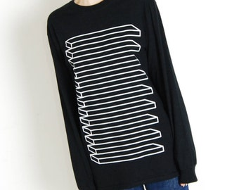 Illusion Striped Long Sleeve Double Sided T-Shirt – Front and Back Print, Black and White Unisex Tee