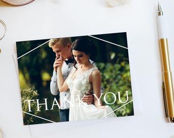 Wedding Thank You Card Custom Photo Wedding Thank You Cards Faux Gold Foil Wedding Thank You Cards Vintage Gold Foil Wedding Cards Rose2