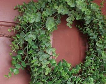 Wreath, eucalyptus wreath, faux eucalyptus wreath, summer wreath, farmhouse wreath, rustic wreath, door wreath, eucalyptus