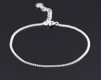 Sterling silver chain bracelet, Delicate silver bracelet, Stacking bracelet, Everyday bracelet, Silver bracelet women,Dainty silver bracelet