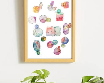 Watermelon Head Watercolor Print
