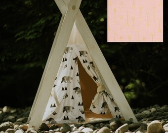 Play tent teepee distressed pink blush with metallic gold woodland arrows