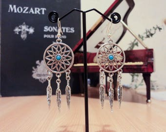Earrings with blue bead dream catcher feather - silver - 7 cm