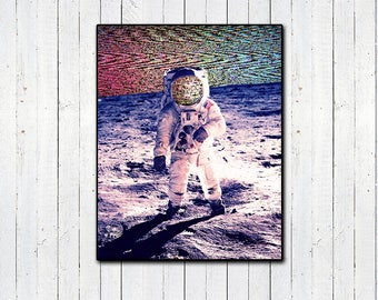 Space Static Print, TV Static, Astronaut, Moonwalk, Outer Space Gifts, Photo Glitch, Rainbow Prints, Vaporwave, Aesthetics, Celestial Gifts
