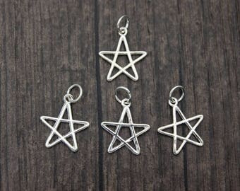 4 Sterling Silver Star Charm Pendant,Pentagram Charm ,Five-pointed star