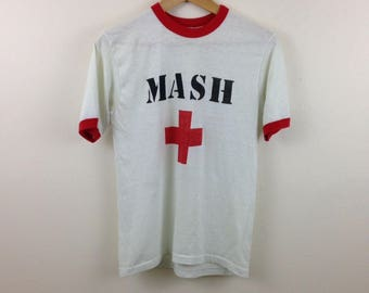 RARE Vintage 80s MASH White and Red Ringer 50/50 Paper Thin T-Shirt - Size Small