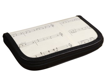 Small zip wallet music notes, music student gift, musician gift, vegan wallet, Recycled wallet, Credit Card Wallet, zipper wallet, Mom gift