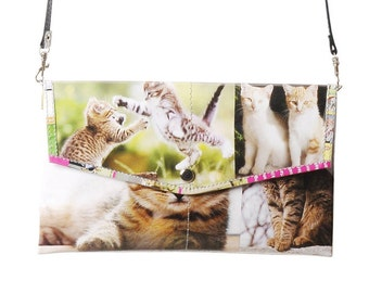 Envelop clutch cat lovers, FREE SHIPPING, sustainable design, cat bag, sweet kitten, gift for vegans, naveh milo, evening cat purse