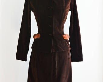 """1950s Vintage Suit 1950s Skirt Suit Waist 26"""""""
