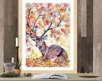 Fantasy Stag Art Print - Amber A3