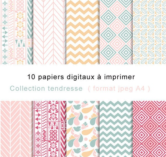 Souvent Papiers numérique motifs chevron et floral origami et DM68