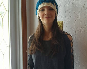 Hat adult or child with Pompom wool or fur, Teal and cream, hand knitted