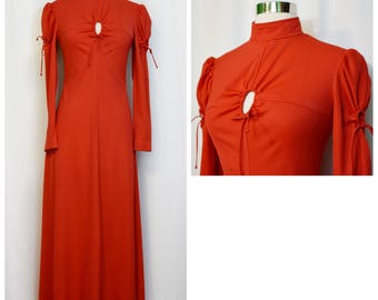 Mikey Jr's of California Keyhole Red Maxi Dress