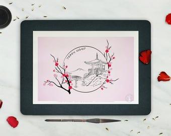 Affiche In the MOOD for JAPAN - Poster Fleurs, Affiche paysage Japon, Dessin Zen Noir - affiche deco, estampe, Art mural, temple japonais