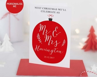 Personalised Next Christmas We Will Be Mr & Mrs Christmas Card Fiance Christmas Card Christmas Card Mr Mrs Christmas Card For Him Engaged