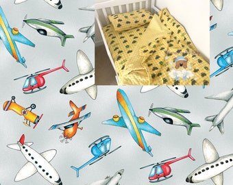 Planes Toddler Bedding Set Airplane Toddler Blanket Plane Fitted Sheet Pillow Case 100% Cotton Airport Toddler Bedding