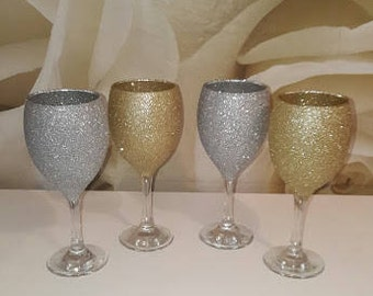 Gorgeous Sparkly Sets Of Glitter Champagne Glasses - Christmas Gift - Birthday Gift - For Her - Best Friend - Drinkware - Glamorous - Pretty