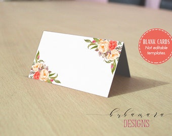 Coral Peach Floral Blank Place Tent Card Foldable Blank Escort Card Folded Tent One Side Cards Seating Table Wedding Reception Card - WS040