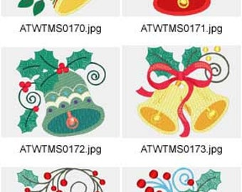 Jacobean-Christmas-Bells ( 10 Machine Embroidery Designs from ATW ) XYZ17K