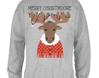Christmas Merry ChristMoose Moose Mens Sweatshirt