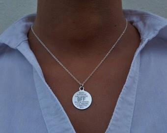 BFF necklace, Smart supportive kind friend necklace, Promise necklace, bff necklace for 2, bestfriend necklace, bff charm necklace-Loyal fun