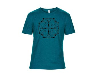 Seriously Soft Heathered Galapagos Blue T Shirt with Black Original Screen Print