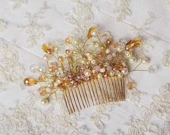 Bridal hair comb Gold pearls bridal comb Bridal ivory headpiece Wedding headpiece Pearl hair comb Wedding hair accessories Crystal headpiece