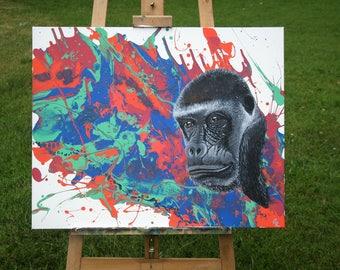 "Gorilla Acrylic Painting - ""Charlie"""