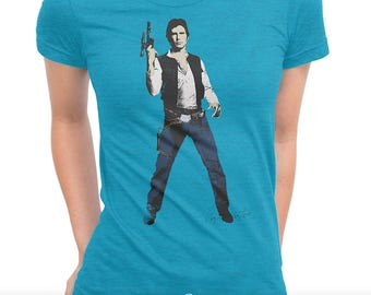 Han Shot First 'Episode I - Millennium Falcon' Ladies T-shirt (Andy Warhol Elvis Pop Art Star Wars Parody)