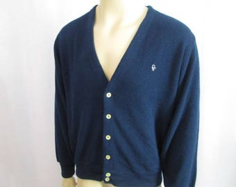 Mens Christian Dior Cardigan Sweater Vintage 1980s Navy Blue Golf