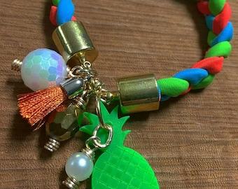 Lycra Bracelet with Acrylic Pineapple