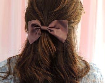 Silk Hair Bow, Dusk Purple 100% Silk Satin Hair Bow Barrette Clip, purple hair bow, purple hair clip, silk hair clip, purple barrette clip