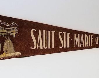 Sault Ste. Marie, Ontario, Canada - Vintage Pennant