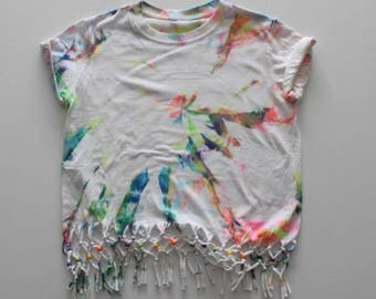 Tie Dyed Beaded Upcycled  T-Shirt  | Kids fashion, Tye dyed clothing, Hand Dyed, Rainbow Top, Festival Top, Summer Top, Holiday Top, Kids