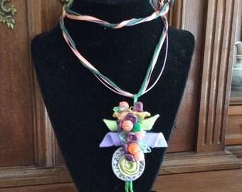 Mixed media necklace / felt necklace / fiber necklace / beaded necklace / OOAK necklace / handmade necklace