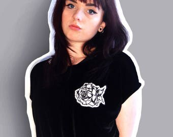 SALE - Screen Printed Florid Floral Patch Black Velvet T-Shirt