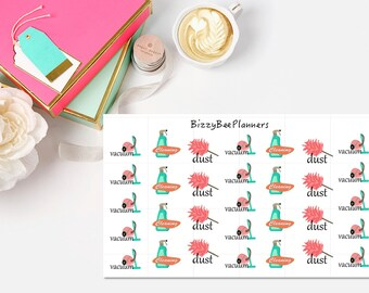 Cleaning/vacuum/chore Planner Stickers-ECLP-Happy Planner