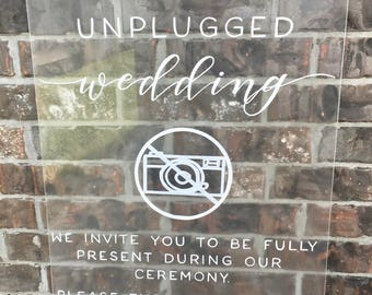 Unplugged ceremony sign / acrylic unplugged sign / unplugged wedding / clear sign / acrylic sign