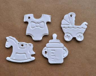 Baby themed gift tags, onesie gift tag, stroller gift tag, rocking horse, baby bottle tag, birth gift tag, babyshower favor, baby clay tags