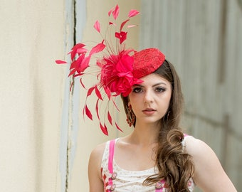 Red Feathered Pill Box Fascinator