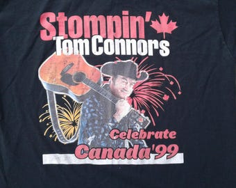 "Vintage 90's Stompin' Tom Connors ""Celebrate Canada '99"" Tour t-shirt Made in Canada XL"