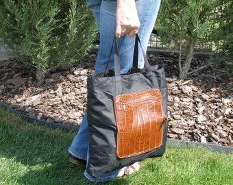 SALE tote bag, folded shopping bag, shopping bag with handle, reusable shopping bag, leather shopping bag, folding shoper bag, pouch handbag