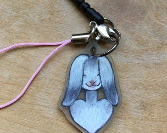 Soft Gray and White Rabbit Cellphone Charm