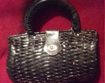 1950s Black Ladies Vintage Basket Bag
