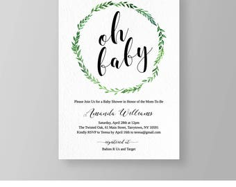 Baby Shower Invite Template, Printable Baby Shower, Oh Baby, Neutral Baby Shower Invitation, DIY, Instant Download, Editable Template #013BS